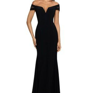 XSCAPE 4 Off-The-Shoulder Illusion-Sleeve Gown
